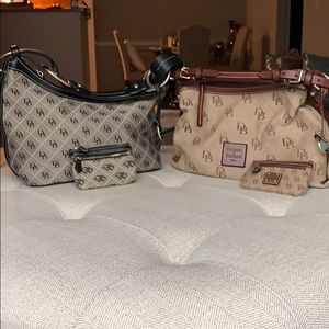 2 Dooney & Bourke hobos w/ matching change purses.